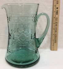 """Pitcher Green Glass w/ Southwestern Design Native Embossed 8"""" Water Juice"""