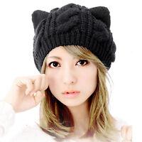Fashion Womens Hat Lovely Cat Ears Hemp Flowers Knitted Hat Girl Lady Black Cap