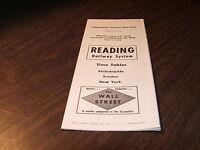 SEPT. 1954 RDG READING COMPANY PHILADELPHIA-TRENTON-NEW YORK PUBLIC TIMETABLE