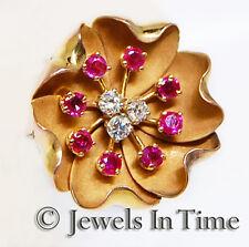 Diamond & Ruby Flower Pin in 18k Yellow Gold