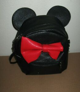 Minnie Mouse black red backpack bag vegan faux leather 8X7X4 small ears