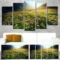Designart 'Meadow with Colorful Flowers' Oversized Landscape Green 60 in. wide x