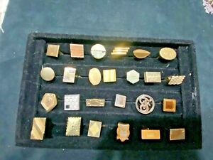Vintage lot Cufflinks 25 single in lot;  GOLD Tone Mixed Years & Brands: SWANK++
