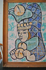 Antique Mosaic Handmade Art Tile Wall Stone Mural of a Court Jester Signed