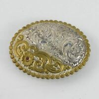 Crumrine Gold & Silversmiths Gold Tone and Silver Plate Ruby Jewel Belt Buckle