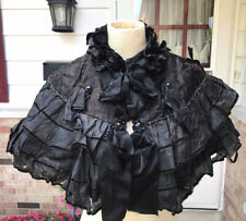 Antique Victorian c1880s Black Beaded Embellished Cape Silk ruffle Lovely!