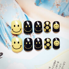 24 Pcs Smile Face False Nails Short Oval Finger Black Yellow with Glue Sticker