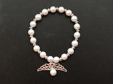 Glass Pearl Silver Tone Angel Wing Bracelet Women Gift Bridal Bridesmaid Wedding