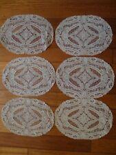 """6 Antique 1900's Ecru Handmade Needle Lace Placemats Point De Venise 10"""" x13"""""""