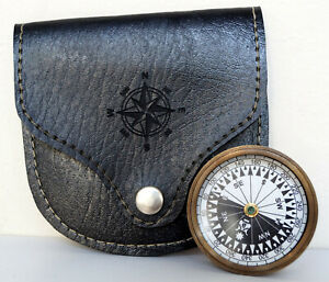 Antique Maritime Brass Pocket Compass Megnatic Hiking With Black Leather Case
