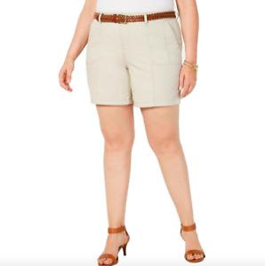 Style & Co. Women's Mid Rise Chino Daytime Bermuda Shorts Plus Size 24W Tan