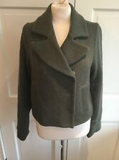 Catherine Malandrino Textured Wool Short Jacket Army Green Silk Lined Sz P S