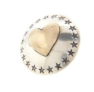 """Sterling Silver 925 Heart And Star Tie Tack Pin in 1"""" Round"""