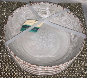 x6 Cynthia Rowley Gray Melamine Salad Bowl Set Medallion Swirl Rustic Tuscan