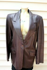 Linda Allard Ellen Tracy Size 12 Women's Brown Leather Jacket Blazer
