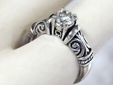 WHITE MOISSANITE RING SIZE 6 ANTIQUE 925 STERLING SILVER USA MADE