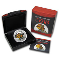Frilled Neck Lizard 1oz Silver Proof Coin Tuvalu 2013 Remarkable Reptile Series