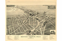 Benton Harbor, Michigan; Antique Birdseye Map; 1889