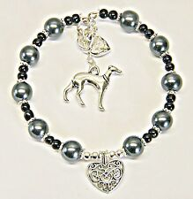 PERSONALISED GREYHOUND DOG CHARM BRACELET Mum daughter sister friend Wife GIFT