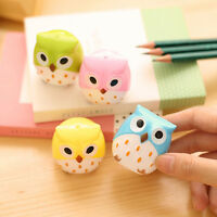 2Pcs Cute Owl Pattern Pencil Sharpener School Kid's Favorite Stationery Supplies