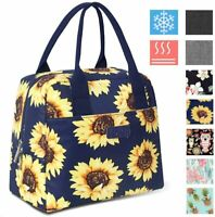 Insulated Lunch Bag 7.5L Thermal Cooler Tote Box with Pocket, Sunflower/Navy