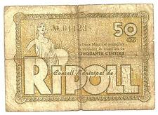 GUERRA CIVIL (NOTGELD) RIPOLL. 50 CÉNTIMOS DE 1937. (BC) ROTURAS
