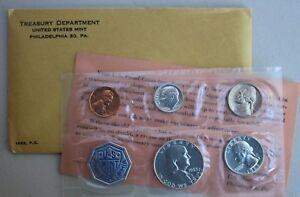 1963 Annual 5 Coin Proof Set Silver Coins and Envelope with Franklin Half Dollar