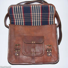 Handmade personalised brown leather satchel messenger laptop bag. Engraved