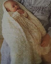 FB3 - Knitting Pattern - Cot Blanket / Shawl & Christening Gown - 3-ply Babies