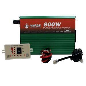 12 Volt 600-1200 Watt PURE Sine Wave Inverter with Remote Swicth