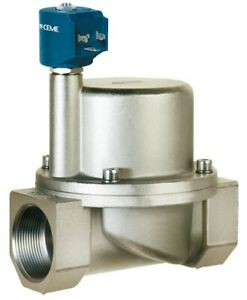 """Solenoid valve CEME 9019, Normally Closed, 2"""", water air steam light oils PTFE"""