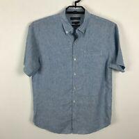 Banana Republic Mens Shirt Size M Linen Camden Fit Blue Short Sleeve Button Up
