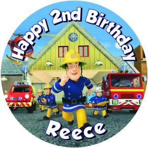 "Fireman Sam  , 7.5"" , 2"" , 1.5"" ROUND EDIBLE ICING PRINTED CAKE TOPPER"