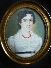 BELLE MINIATURE PORTRAIT DAME DE QUALITE EPOQUE RESTAURATION vers 1820-1830