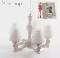 LAMPADARIO Shabby 5 BRACCI legno BIANCO lampada soffitto camera 46 cm + omaggio!