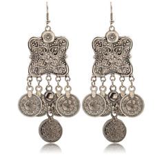 Boho Women Tibetan Silver Carving Coin Tassel Drop Dangle Ear Stud Hook Earrings