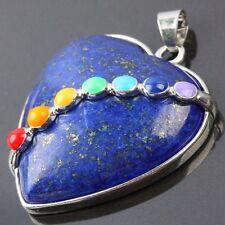 7 Bead Chakra Lapis Lazuli Stone Heart LOVE Gemstone Charms Pendant Fit Necklace