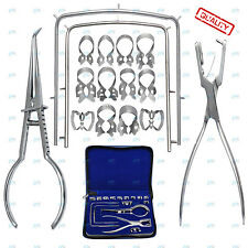 Dental RUBBER DAM KIT Ainsworth PUNCH Palmer FORCEPS 12 CLAMPS FRAME Quality SET