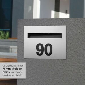 75mm BLACK Bold Font NUMBER Powder Coated, LETTERBOX, DOOR, HOUSE, WALL, FENCE