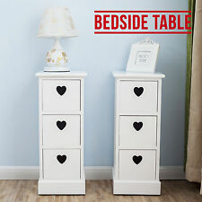 2PCS White Bedside Table Units Chest Cabinets with Heart Cutout 3 Drawers