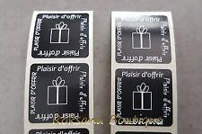 """50 Etiquettes cadeaux  """"Plaisir d'offrir"""" stickers cadeau autocollantes noir"""
