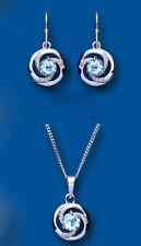 Diamant und blauer Topas Set Anhänger und Ohrhänger massives Sterlingsilber