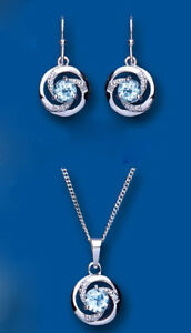 Diamond and Blue Topaz Set Pendant and Drop Earrings Solid Sterling Silver