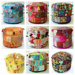 """22"""" Bohemian Patchwork Pouf Cover Multi Patchwork Handmade Round Seating"""