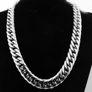 Stainless Steel Heavy Mens Silver Curb Cuban Chain Necklace Punk style