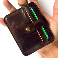 BIN Mens Leather Money Clip Slim Wallet ID Credit Card Holder Storage Case