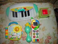 Vteach Phone,Sesame Street Keyboard , Flounder Rattle, Playskool Blocks & Book