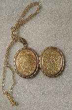 "Gold Plated Filigree Embossed 1 3/4"" Oval Photo Picture Locket Pendant"