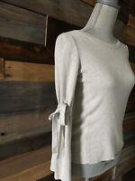 Banana Republic women's extra fine merino wool gray sweater Tie Sleeve Petite