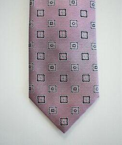 🆕️ Auth BRIONI Pink Silver GEOMETRIC 100% SILK HAND MADE Standard Neck Tie